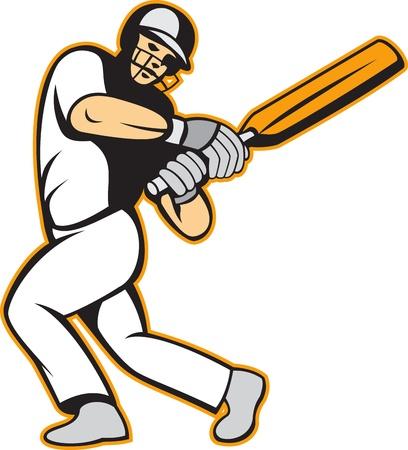 bateo: Ilustraci�n de un jugador de cricket batsman batting con el palo en el fondo aislado en blanco.