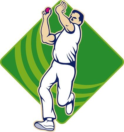 bouliste: Illustration d'un jeu de quilles melon joueur de cricket avec balle de cricket en arri�re-plan isol� sur blanc