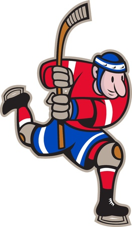 Illustration of a ice hockey player with hockey stick skating striking done in cartoon style. Vector