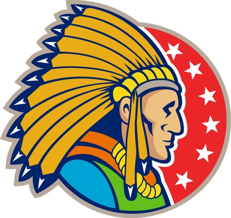 chief: Illustration of a native american indian wearing headgear viewed from side set inside circle with stars.