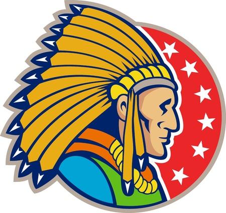 chieftain: Illustrazione di un nativo americano copricapo indiano che indossa visto dal lato interno set cerchio di stelle. Vettoriali