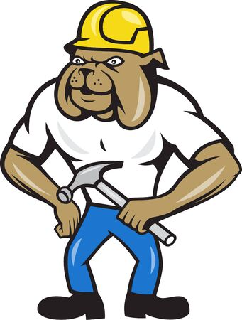 claw hammer: Illustration of bulldog construction worker wearing hardhat holding claw hammer done in cartoon style. Illustration