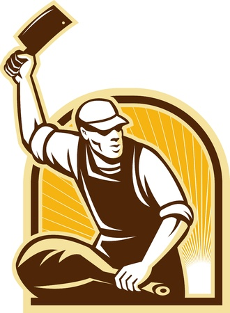 Illustration of butcher with meat cleaver cutting leg of ham done in retro style. Vector