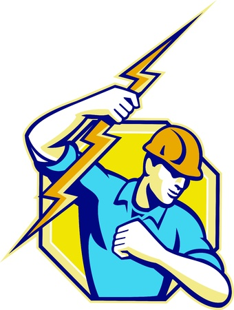 Illustration of an electrician construction worker holding a lightning bolt set inside hexagon done in retro style in isolated white background