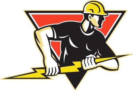blitz symbol: Illustration eines Elektrikers Bauarbeiter im Besitz einer Blitz-Set innerhalb Dreieck geschehen im Retro-Stil in isolierten wei�en Hintergrund Illustration