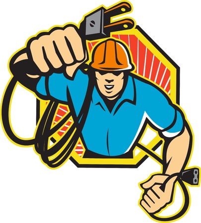 Illustration of an electrician construction worker holding an electrical electric plug with cord front view set inside hexagon done in retro style in isolated white background  illustration