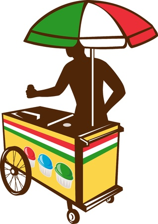 vending: Illustration of an Italian ice push cart vending vendor with umbrella in flag of Italy colors done in retro style on isolated white background business card format