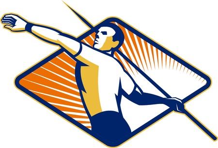 lanzamiento de jabalina: Ilustración de una jabalina atleta de pista y campo tiro conjunto dentro de la forma de diamante hecho en estilo retro