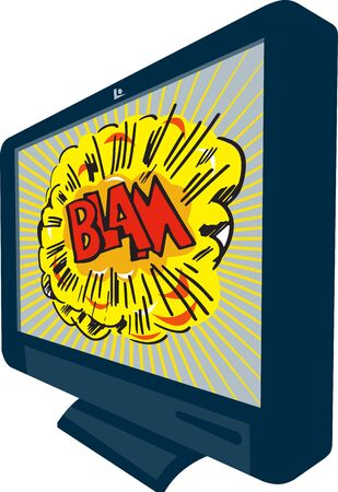 Illustration of an LCD Plasma television TV set on isolated white background with cartoon style explosion and text word blam  illustration
