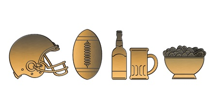illustration of a golden american football helmet.ball,beer bottle,glass mug and potato chips bowl done in metallic gold style on isolated white background. illustration
