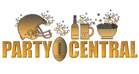 football party: illustration of a golden american football helmet.ball,beer bottle,glass mug and potato chips bowl done in metallic gold style on isolated white background with words part central