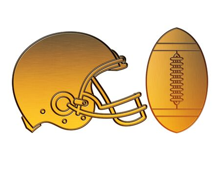 american football helmet: illustration of a golden american football helmet viewed from side done in metallic gold style on isolated white background.