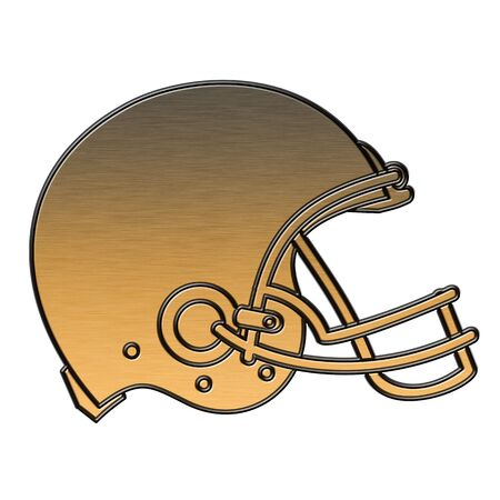 helmet football team: illustration of a golden american football helmet viewed from side done in metallic gold style on isolated white background.