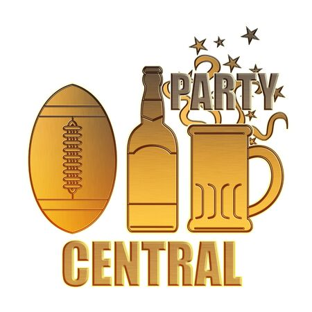 illustration of a golden american football ball,beer bottle,glass mug and potato chips bowl done in metallic gold style on isolated white background with words party central illustration