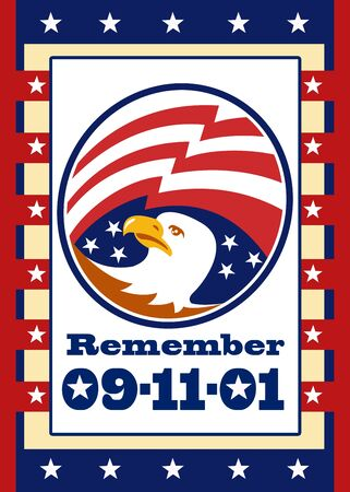 Poster greeting card illustration of an american bald eagle head with stars and stripes flag set inside ellipse with words remember september 11,2011