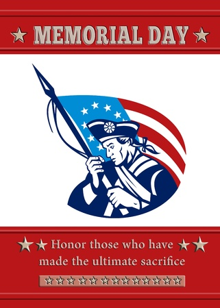 american revolution: Poster greeting card Poster greeting card illustration of a patriot minuteman revolutionary soldier holding an American stars and stripes flag  and words veterans day honor those who protected us. Stock Photo