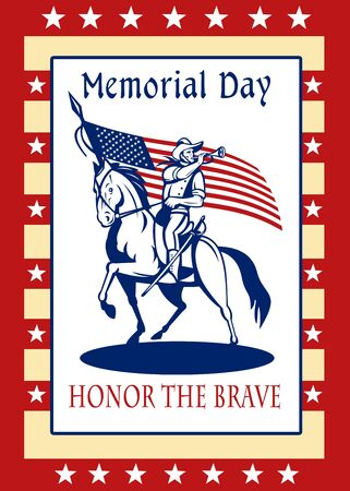 Poster greeting card illustration of a patriot union cavalry american civil war soldier blowing bugle riding horse holding an American stars and stripes flag  and words memorial day honor the brave. illustration