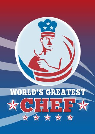 greatest: Greeting card poster illustration of an American chef baker cook holding spatula facing front with stars and stripes done in retro style with words world