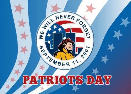 recordar: Ilustración Poster tarjeta de felicitación de un bombero del bombero con dos torres de edificios y estrellas y la bandera americana rayas establecidos dentro del círculo y el día 911 palabras patriota recordar que nunca olvidaremos 11 de septiembre 2001