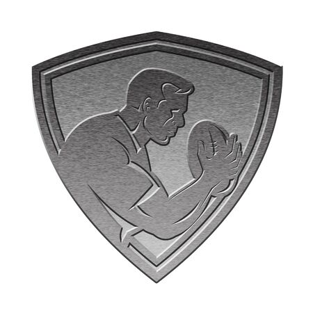 pewter: illustration of a rugby player running passing the ball on isolated background   done in metallic silver style set inside shield