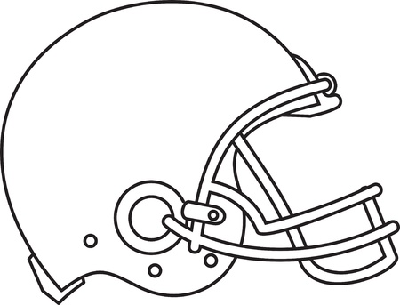 Line drawing illustration of an american football helmet viewed from the side done in black and white. Illustration