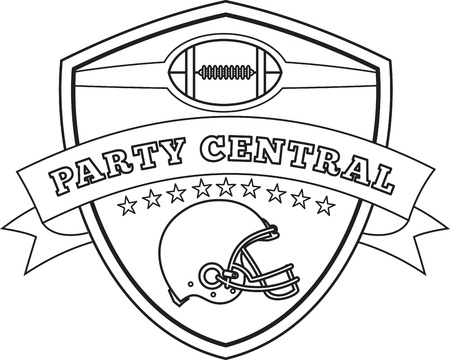 headgear: Line drawing illustration of an american football helmet set inside shield with stars and scroll viewed from the side done in black and white and words party central.