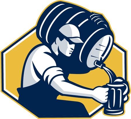 hombre tomando cerveza: Ilustración de estilo retro de un camarero verter barril barril de cerveza en el interior de la taza conjunto hexágono en fondo blanco aislado.