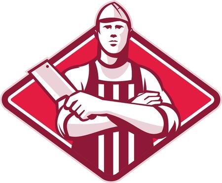 fartuch: Retro styl ilustracji pracownika frezu rzeźnik z mięsnego tasak nóż stoi zestaw przedni wewnątrz diamentu na tle izolowane. Ilustracja