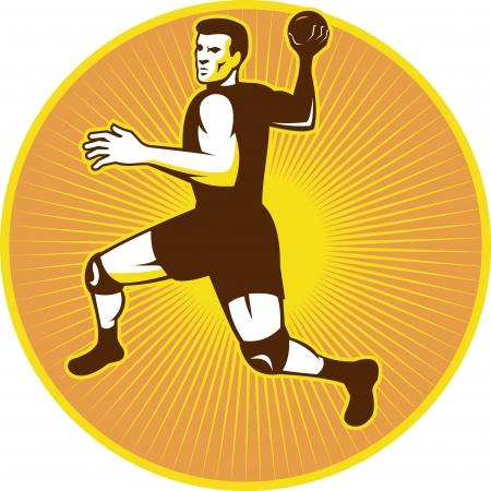 balonmano: Ilustraci�n de estilo retro de un jugador de balonmano que salta para lanzar pelotas de conjunto dentro de c�rculo hecho en estilo retro.