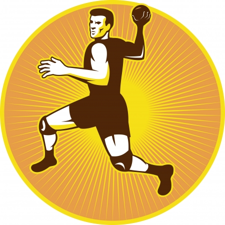 handball: Retro style illustration of a handball player jumping throwing ball set inside circle done in retro style.