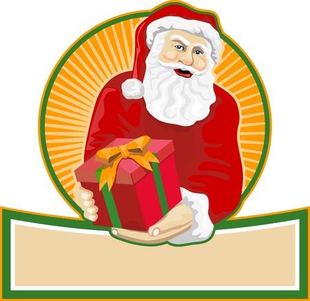 saint nicholas: Ilustraci�n de estilo retro de Pap� Noel San Nicol�s padre Navidad en el fondo blanco aislado.