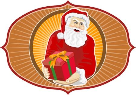 'saint nicholas': Retro style illustration of santa claus saint nicholas father christmas handing gift present on isolated white background