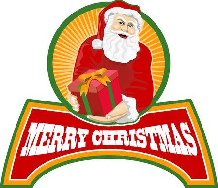saint nicholas: Ilustraci�n de estilo retro de Pap� Noel San Nicol�s padre Navidad en el fondo blanco aislado con las palabras Feliz Navidad Vectores