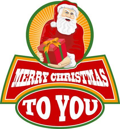 saint nicholas: Ilustraci�n de estilo retro de Pap� Noel San Nicol�s padre Navidad en el fondo blanco aislado con las palabras Feliz Navidad para ti Vectores