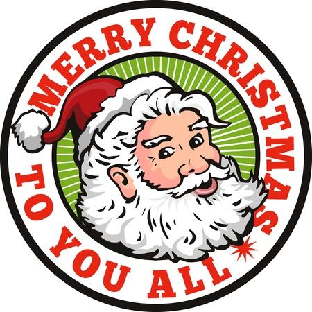 pere noel: Illustration de style rétro du père noël saint nicholas noël père sur fond blanc isolé placé à l'intérieur cercle avec les mots Joyeux Noël à tous