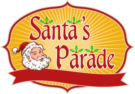 nicholas: Retro style illustration of santa claus saint nicholas father christmas head with holly and words Santa Parade inside shield enclosure on isolated white background