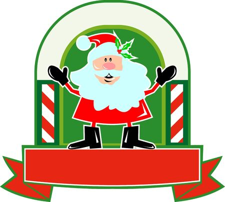 Cartoon style illustration of santa claus saint nicholas father christmas standing front with candy cane scroll on isolated white background Stock Vector - 14945760