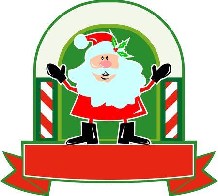saint nicholas: Ilustraci�n de dibujos animados al estilo de Pap� Noel San Nicol�s de pie delante padre Navidad con el bast�n de caramelo desplazarse sobre fondo blanco aislado