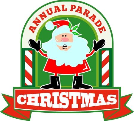 saint nicholas: Ilustraci�n de estilo retro de Pap� Noel San Nicol�s father christmas pie, con bast�n de caramelo y de desplazamiento sobre fondo blanco aisladas y el desfile anual de Navidad de las palabras