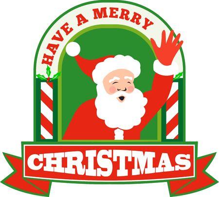 saint nicholas: Ilustraci�n de estilo retro de santa claus santa conjunto nicholas padre frente Navidad que agita en el interior del arco con las palabras tienen una Feliz Navidad en fondo blanco aislado