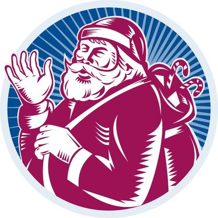 saint nicholas: Ilustraci�n de estilo retro de Pap� Noel San Nicol�s father christmas agitando conjunto dentro de c�rculo hecho en grabar en madera sobre fondo blanco aisladas Vectores