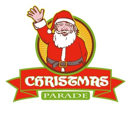 saint nicholas: Ilustraci�n de estilo retro de la historieta de Pap� Noel San Nicol�s padre Navidad en el fondo blanco aislado con el c�rculo y desplazarse con palabras Desfile de Navidad Vectores