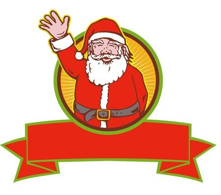 saint nicholas: Ilustraci�n de estilo retro de la historieta de Pap� Noel San Nicol�s father christmas ondeando en el fondo blanco aislado Vectores