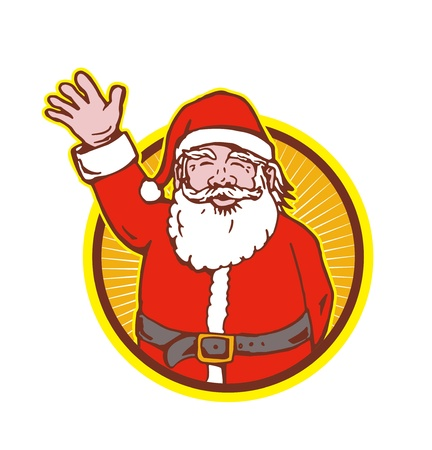 saint nicholas: Ilustraci�n de estilo retro de Pap� Noel San Nicol�s father christmas aislado en fondo blanco mano que agita