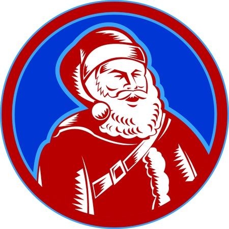st nick: Retro style illustration of santa claus saint nicholas father christmas woodcut style set inside circle on isolated white background