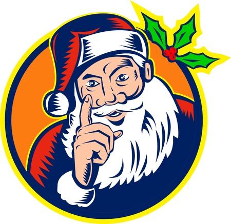 saint nicholas: Ilustraci�n de estilo retro de santa claus santa dedo apuntando nicholas padre navidad aislado en blanco estilo del grabar en madera de fondo