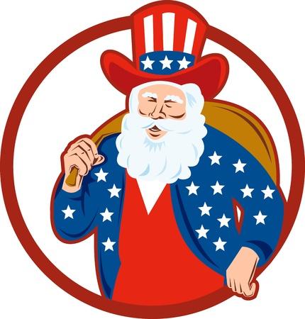 saint nicholas: Ilustraci�n de estilo retro americano de Pap� Noel San Nicol�s father christmas t�o sam sobre fondo blanco aisladas conjunto dentro de c�rculo Vectores