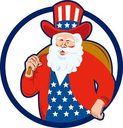 Ilustración de estilo retro americano de Papá Noel San Nicolás father christmas tío sam sobre fondo blanco aisladas conjunto dentro de círculo