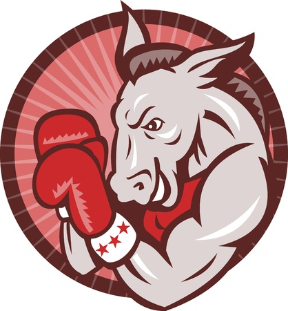 gop: Illustration of a republican donkey mascot boxer boxing with gloves set inside circle done in retro style. Illustration