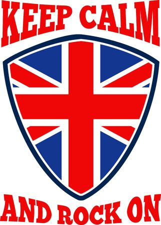 Retro illustration of a british union jack flag set inside shield with words &quot,keep calm and rock on&quot,. Vector